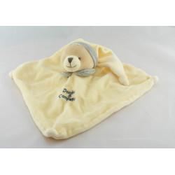 Doudou et compagnie plat carré ours écru blanc col gris