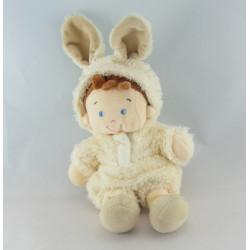 Doudou semi plat garçon déguisé en lapin bleu NICOTOY