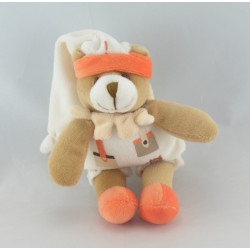 Doudou et compagnie attache tétine ours blanc orange
