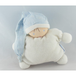 Doudou semi plat lutin blanc bonnet bleu NOUNOURS