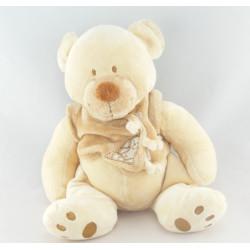 Doudou ours écru beige avec écharpe NICOTOY