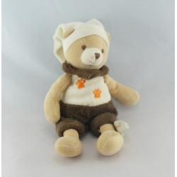 Doudou ours blanc marron empreinte mouchoir BABY NAT