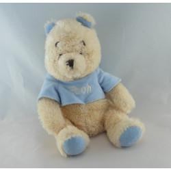Doudou winnie l'ourson salopette bleu avec petit ours DISNEY STORE