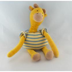 Doudou Zaza la girafe jaune salopette bleu palmier NOUNOURS