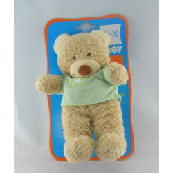 Doudou ours rayé bleu vert mouton TEX BABY