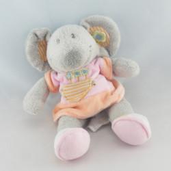 Doudou souris grise robe rose fleurs VETIR