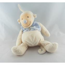 Doudou singe bleu blanc palmier JOLLYBABY