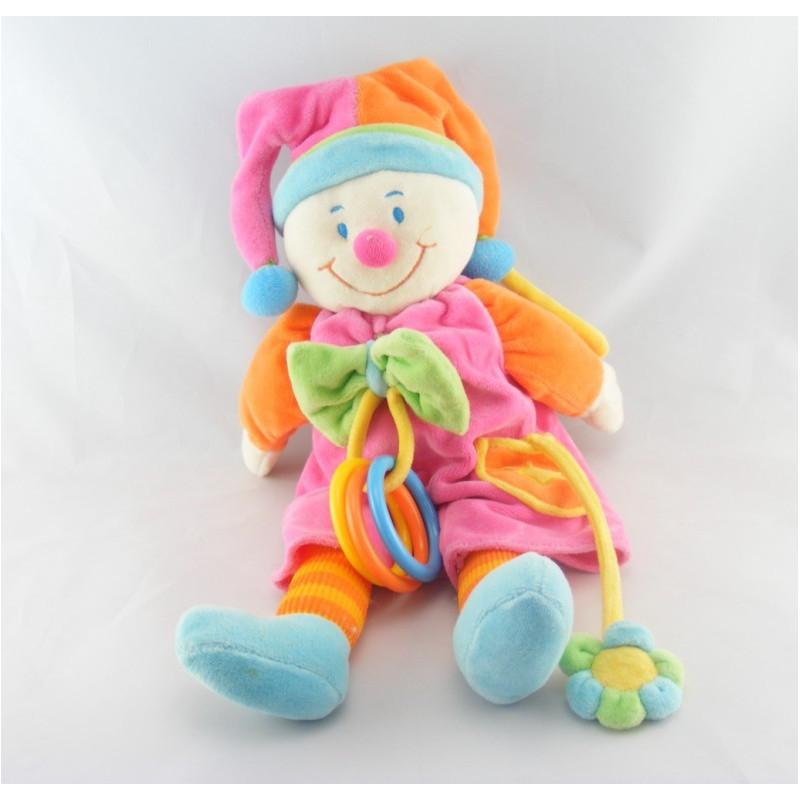 Doudou Musical Clown rose hochet fleur JOLLYBABY