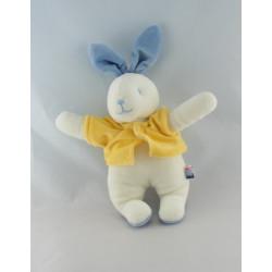 Doudou chien bleu blanc cocard pull jaune SUCRE D'ORGE