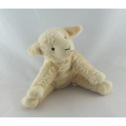 Doudou mouton blanc rayé rouge BERGERE DE FRANCE