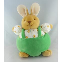 Doudou hochet lapin vert carottes COMPTINE