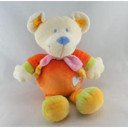 Doudou musical ours orange coeur bleu NICOTOY