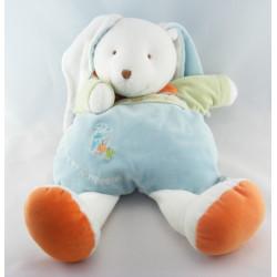 Doudou et compagnie semi plat lapin blanc Eliot avec bébé bleu