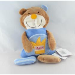 Doudou plat ours beige rayé bleu SIGIKID