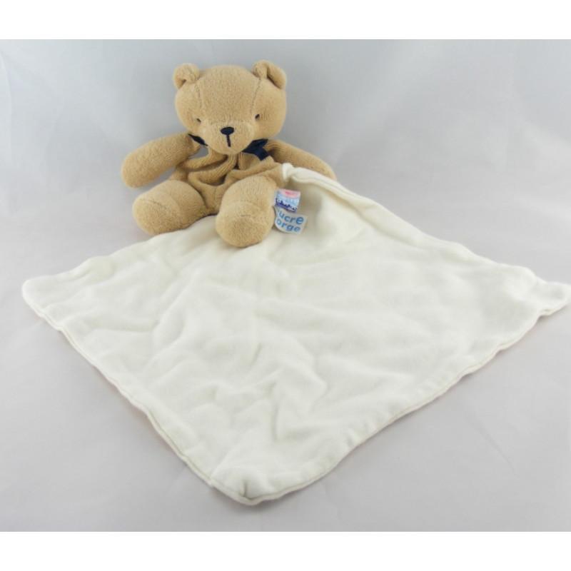 Doudou ours beige avec mouchoir SUCRE D'ORGE