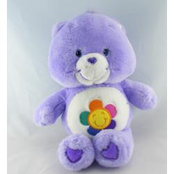 Peluche Bisounours mauve violet Grosfasol fleur CARE BEARS