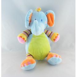 Doudou culbuto éléphant bleu vert noeuds NICOTOY