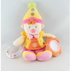 Doudou clown rose avec hochet et miroir NICOTOY