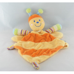 Doudou plat abeille orange jaune MOTS D'ENFANTS