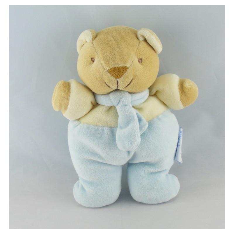Doudou plat ours jaune bleu COMPTINE