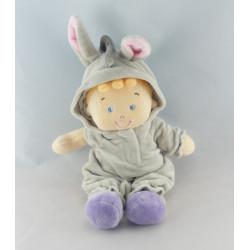 Doudou garçon déguisé en lapin blanc NICOTOY