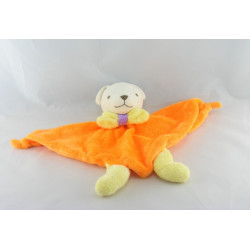 Doudou plat triangle ours orange saumon NOUNOURS