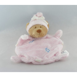 Doudou plat ours rose coccinelle brodée NICOTOY