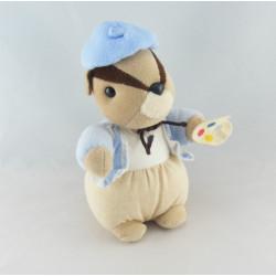 Doudou écureuil gilet et béret bleu TARTINE ET CHOCOLAT