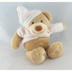 Doudou musical ours beige rose bonnet NATTOU