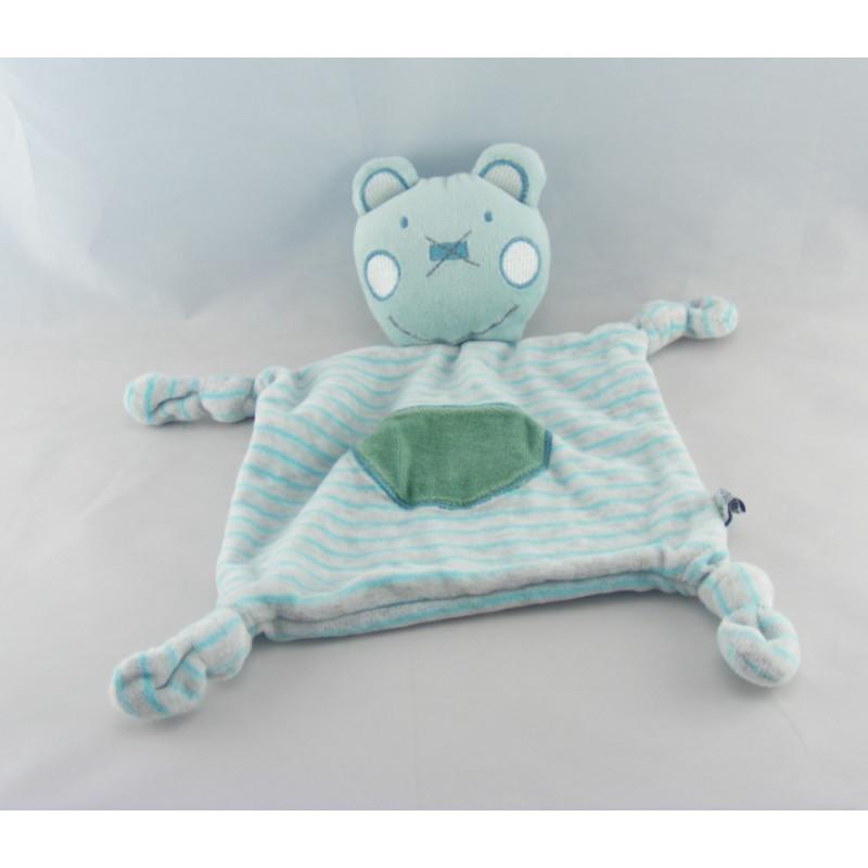 Doudou plat ours gris bleu rayé DEGROOTE