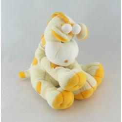 Doudou girafe vache mauve coeur jaune violet KIMBALOO