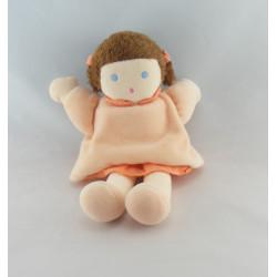 Doudou poupée fille robe rose nattes NOUNOURS