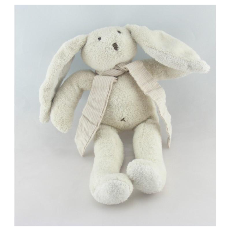 Doudou lapin blanc écharpe rayé beige SERGENT MAJOR