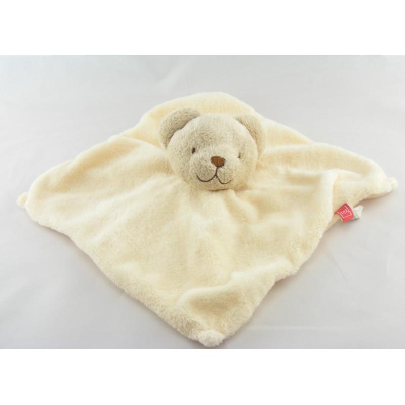 Doudou plat  carré ecru ours beige TEX