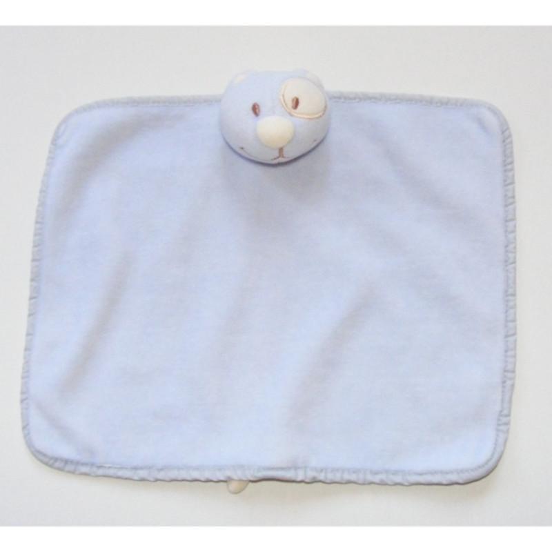 Doudou plat chat bleu avec tache blanche à l'oeil TEX