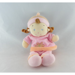 Doudou fille fillette rose orange MOTS D'ENFANTS