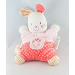 Doudou lapin blanc robe rose pois fleurs NICOTOY KIABI
