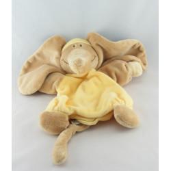 Doudou plat jaune Eléphant Archibald NOUKIE'S