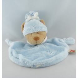 Doudou plat ours bleu bonnet coccinelle brodée NICOTOY