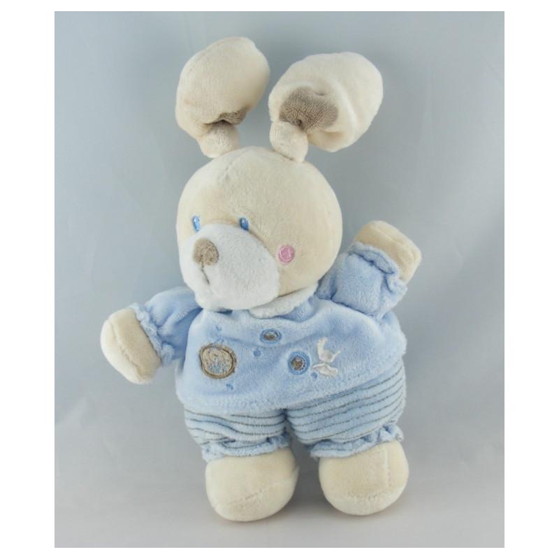 Doudou lapin bleu velours brodé KITCHOUN KIABI NICOTOY