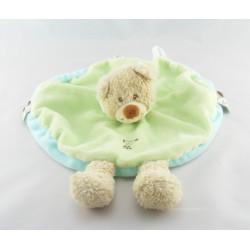 Doudou plat ours déguisé en lapin vert blanc GRAIN DE BLE