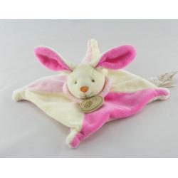 Doudou plat lapin rose blanc BABY NAT