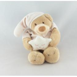 Doudou musical ours beige rose bonnet étoile NATTOU