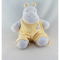 Doudou hippopotame mauve salopette jaune JOLLYBABY