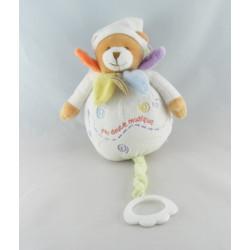 Doudou et compagnie ours boule blanc col pétale mouchoir Nuage