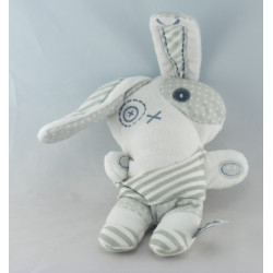 Doudou lapin blanc bleu TAPE A L'OEIL