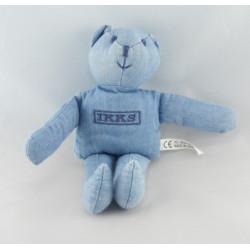 Doudou plat ours bleu IKKS