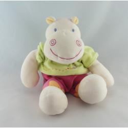 Doudou hippopotame rose vert Hyppo et Flo KIABI 28 cm