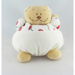 Doudou ours beige blanc rouge cerise NOUKIE'S