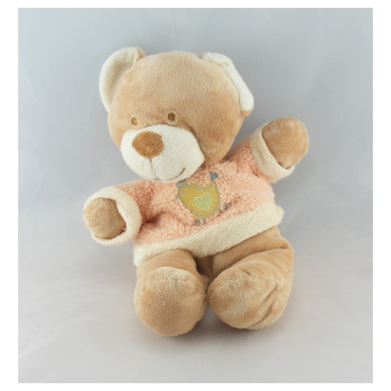 Doudou ours beige Pull rose oiseau coeur NICOTOY
